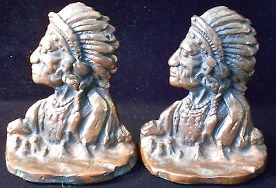 Early Circa 1910-20 Antique Indian Head Cast Metal Bronze Bookends