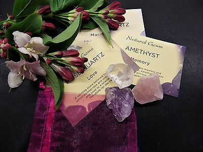 Rose Quartz/Amethyst/Clear Quartz-3 raw natural crystal gemstones-Chakra Reiki