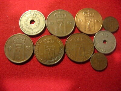 Coin Norway 1925-1957 Lot of 9 coins