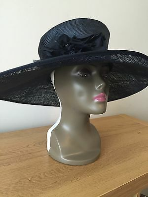 Whiteley beautiful black Ladies straw hat Flower bow detail Wedding Ascot Races