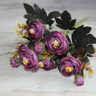 Artificial Silk Fake Flowers Leaf Peony Floral Bouquet Home Wedding Decor Purple