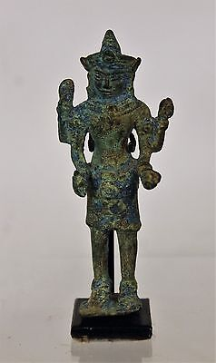 An Antique Cambodian Bronze Khmer Figure of Vishvakarman