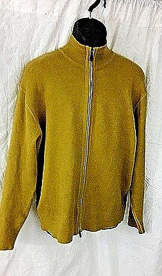 Men's Tommy Bahama Yellow Long Sleeve Size L/large Full Zip Sweater