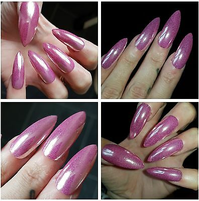 **EXTRA LONG STILETTO **PINK MIRROR CHROME  X 20 Stiletto Nails