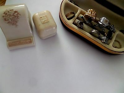 2 Vintage Hard Plastic Celluloid Ring Box Presentation Case plus junk ? ring lot