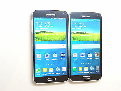 Lot of 2 Samsung Galaxy S5 Smartphones 1 Metro PCS & 1 AT&T Power On AS-IS GSM !