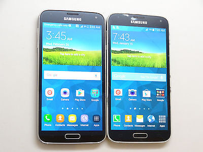 Lot of 2 Samsung Galaxy S5 Smartphones 1 Metro PCS & 1 AT&T Power On AS-IS GSM *