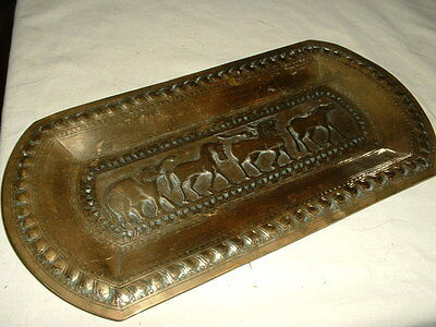 Lovely Antique Brass Hand Hammered Eastern Tray Or Plaque