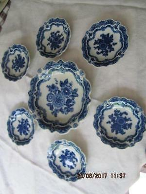 Vintage Blue White Nut Dish Set Large bowl & 6 individual bowls unknown maker