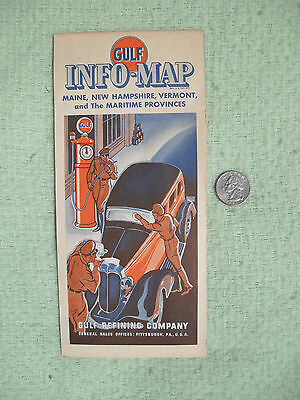 1935 Gulf Oil Refining Co Road Map Nova Scotia Advertising Vibrant Clean Minty
