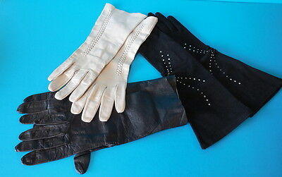 3 Pair Vintage Women's Gloves Size 7; GORGEOUS! Studded & Kid Leather