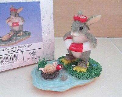 Fitz & Floyd Charming Tails Rabbit Bunny The Water's Fine Ornament Figure Box