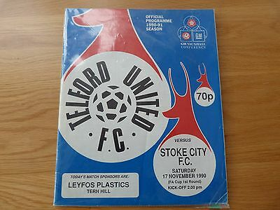 Telford United v Stoke City FA Cup & Replay Football Programmes 1990