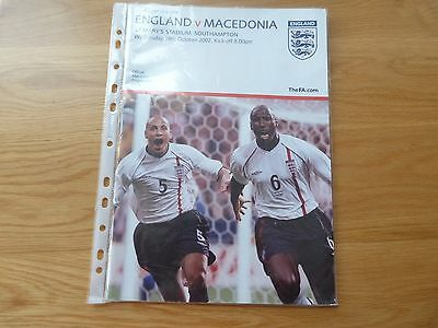 England v Macedonia at Southampton Football Programme 2002