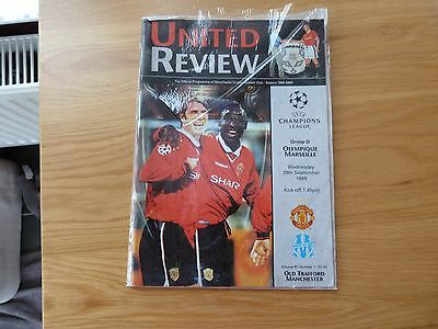 Manchester United v Olympique Marseille Champions League Football Programme 1999