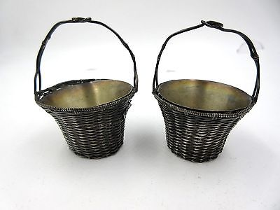 Pair of Japanese Chinese Sterling Silver woven Open Salt Cellar Baskets Anitque