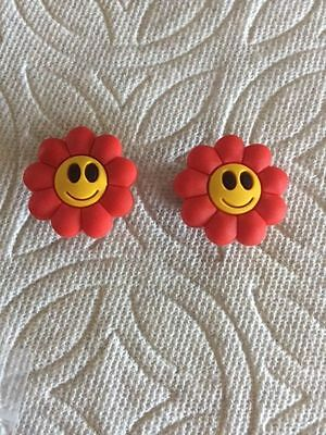 Set Of 2 Red Smiley Flower Shoe Charms Fits Crocs  2 Flower Smiley Clog Charms