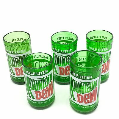 Vintage Mountain Dew Green Cut Glass Bottle Glasses Set of 5 Free Shipping!