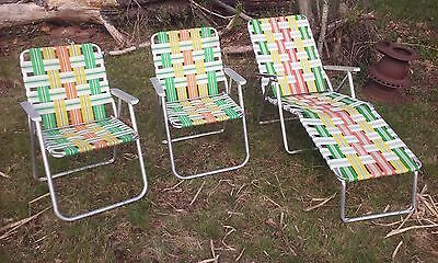 3 Vintage Mid Century Aluminum Webbed Folding Lawn Chairs, 2-REG 1-CHAISE LOUNGE