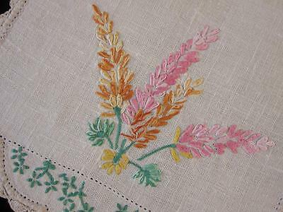 Vintage Centrepiece Doily Lupins Hand Embroidered Linen