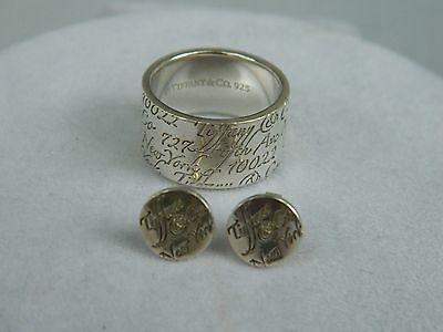 TIFFANY & CO. Authentic Notes Sterling Silver 925 Wide Ring Size 5.5 Earring Set