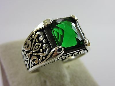 Turkish Handmade Ottoman Style 925 Sterling Silver Emerald Men's Ring Size 10