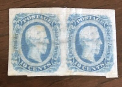 USA Confederate States #12 Pair, Thick Laid Paper, Hor. Line WM, See Photos