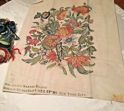 Rare 1920's Floral Needlepoint Canvas and Yarn Unworked Lilian Barton Wilson #7