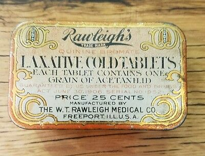 Vintage Rawleigh's Laxative Cold Tablets Tin