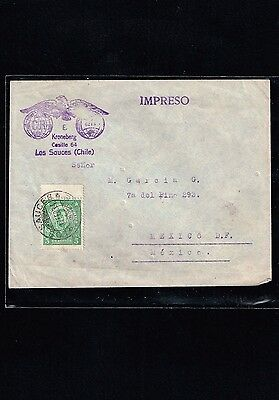 R) 1934 Chile, Los Sauces Mexico Enevlope With Printed Mark, Reception Santiago