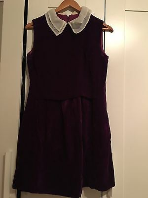 Vintage Purple Velvet Shift Dress With White Collar UK Size 12