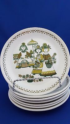 "Lot 7 Vtg Figgjo Flint Side Plates Turi Design Market Green Folk Art 6.75"" Ec"