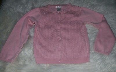 JANIE & JACK Girl's Cardigan Sweater Size 4 Cable Knit Button Down Light Pink