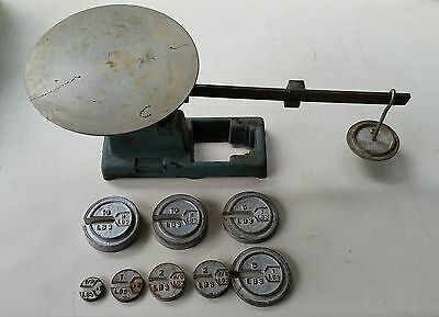 """Vintage Beam Balance Scale - 8 Piece Weight Set - Brass Scale - 10"""" Surface Area"""