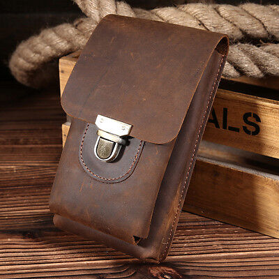 Vintage Men's Genuine Cow Leather Hook Fanny Waist Bag Cowhide Phone Belt Pouch