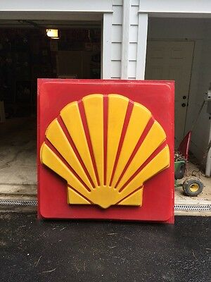 Shell Gas Oil Co HUGE Advertising Plastic Sign Panel From Southern Maryland