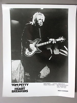 Tom Petty promo photo 8 X 10 black & white glossy photo with Electric Guitar  !