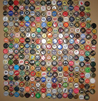 300+ ASSORTED BEER BOTTLE CAPS (Each Different) Many Colors!!!