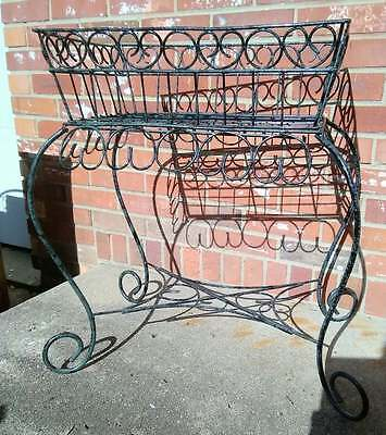 Vintage Plant Stand Green & Black Metal Wire Scroll Hearts Basket 22.5x14x25