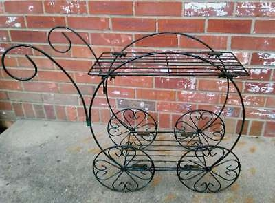 Vintage Plant Stand Cart Green & Black Metal Wire Scroll Hearts Wheels 28x10x22