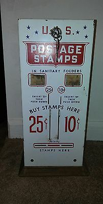 Vintage U.S. Postage Stamp Vending Machine 10 & 25 Cent  Machine  new lock