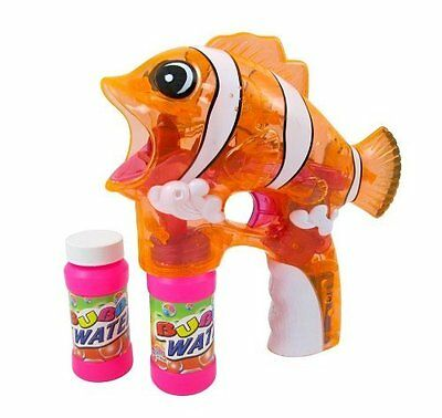 New Battery Operated Clear Nemo Fish Bubble Gun With Light And Sound-Orange