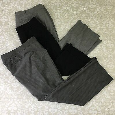 Lot Of 3 Ann Taylor LOFT 10 Pants Marisa Ann AGB Black Grey Striped Solid career