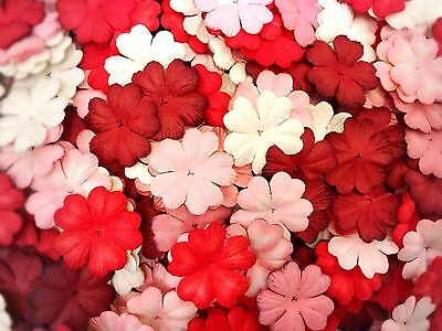 50 Mixed Red Tone Heart Flowers Mulberry Paper for Craft & D.I.Y. Scrapbook