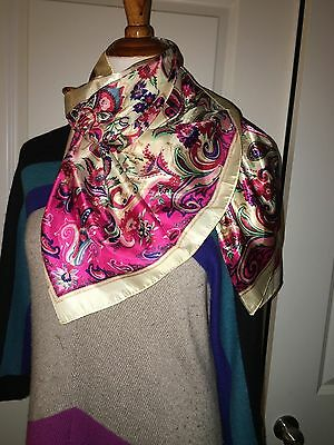 New Big Square Silk like Satin Large Scarf Wrap Shawl Gold Pink Floral