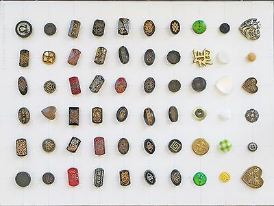 Sixty (60) Glass Antique Buttons With Designs-Patterns-Symbols  Small &  Medium