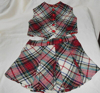 Tartan Pleated Wool Skirt And Vest Set Childs Vtg.1940's Or Early 1950's