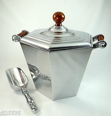 Reed & Barton Bannister Ice Bucket w/Lid and Scoop Wood Accents Cast Aluminum