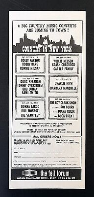 Dolly Parton Willie Nelson Barbara Mandrell Country In New York 1974 Show Flyer