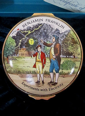 Halcyon Days Enamel Box ~ BENJAMIN FRANKLIN ~ Experiments with Electricity 1976